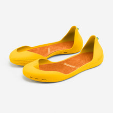 Load image into Gallery viewer, Freshoes Yellow Sun with the Suede leather insoles Amber Orange perspective view