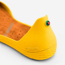 Load image into Gallery viewer, Freshoes Yellow Sun with the Suede leather insoles Amber Orange close up view