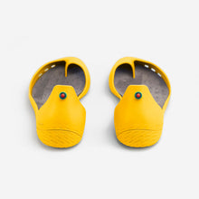 Load image into Gallery viewer, Freshoes Yellow Sun with the Suede leather insoles Ash Grey rear view