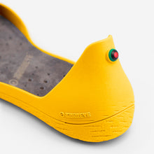 Load image into Gallery viewer, Freshoes Yellow Sun with the Suede leather insoles Ash Grey close up view