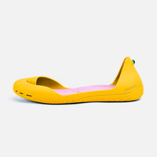 Load image into Gallery viewer, Freshoes Yellow Sun with the Suede leather insoles Misty Rose side view