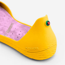 Load image into Gallery viewer, Freshoes Yellow Sun with the Suede leather insoles Misty Rose close up view