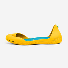 Load image into Gallery viewer, Freshoes Yellow Sun with the Suede leather insoles Turquoise Blue side view