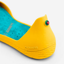 Load image into Gallery viewer, Freshoes Yellow Sun with the Suede leather insoles Turquoise Blue close up view