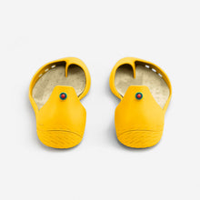 Load image into Gallery viewer, Freshoes Yellow Sun with the Suede leather insoles Turquoise Blue perspective view