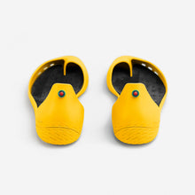 Load image into Gallery viewer, Freshoes Yellow Sun with the Vegan insoles Black rear view