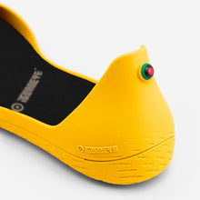 Load image into Gallery viewer, Freshoes Yellow Sun with the Waterproof insoles Black close up view
