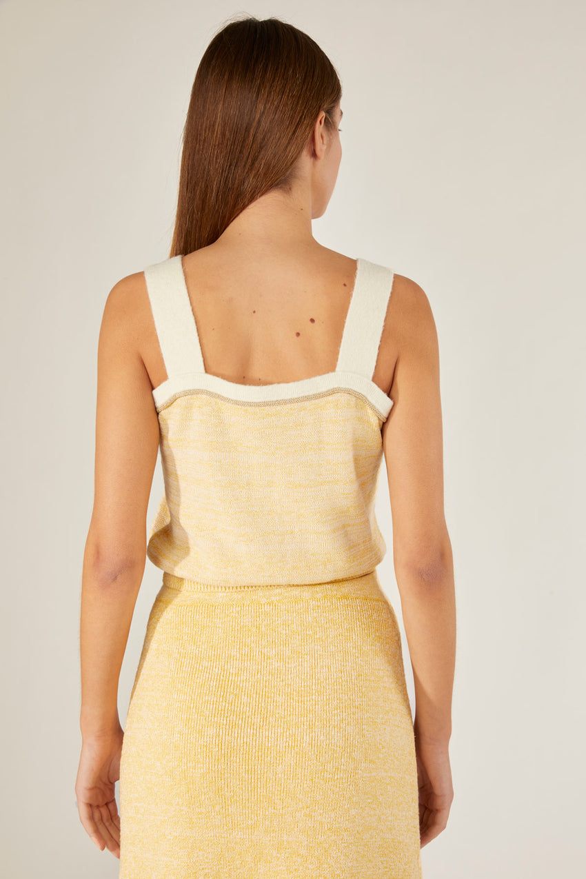 Tweed cropped top - Chick Yellow