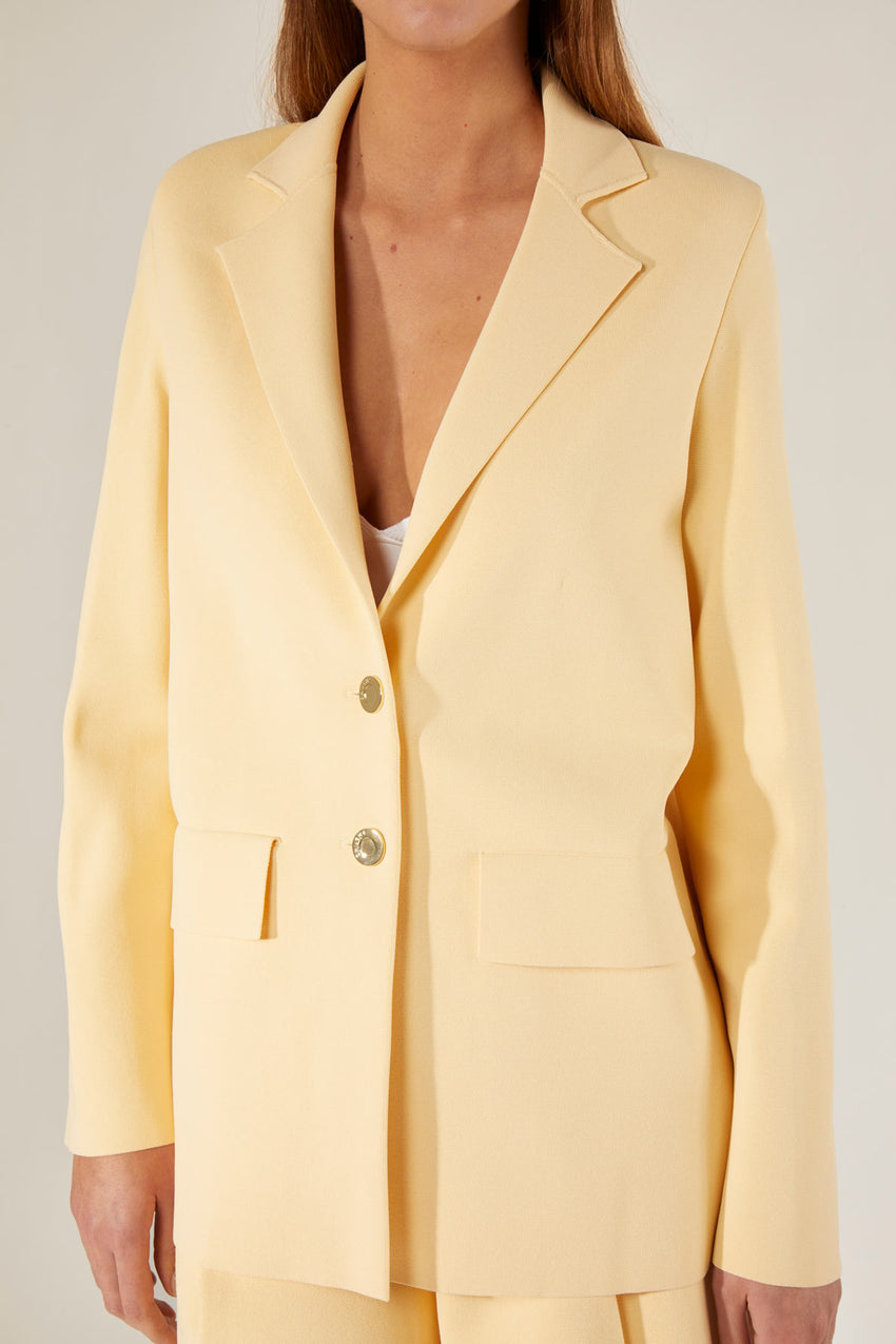 Casual Knit Blazer - Chick yellow