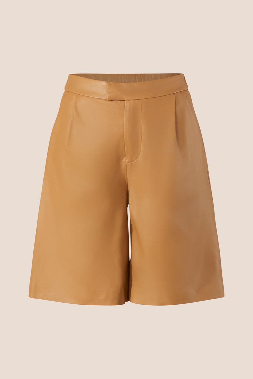 Napa Leather Shorts - Camel