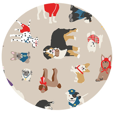 DOG BEACH Fabric - Laminated Cotton - by the yard