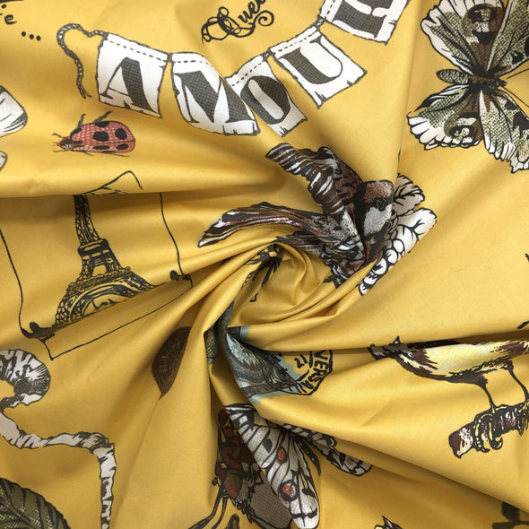 MUSTARD Fabric - Laminated Cotton - by the yard