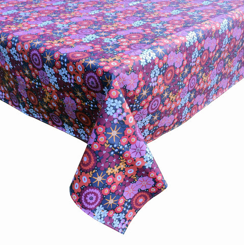 laminated cotton tablecloth in red floral print