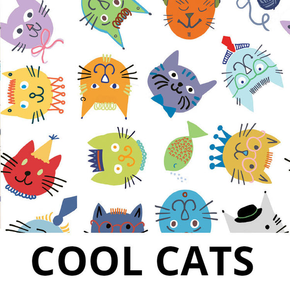 COOL CATS Fabric - Laminated Cotton - by the yard - Available November 30