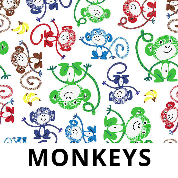 MONKEY Fabric - Laminated Cotton - 10yd Roll