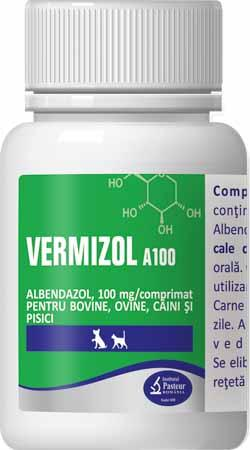 Vermizol A100 50pills Albendazole 100mg For Dog & Cat
