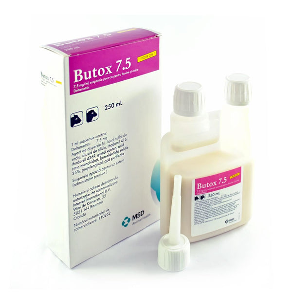 BUTOX 7,5% Pour-On 1L Fleas Ticks Mange Mites Lice for cattle dog sheep