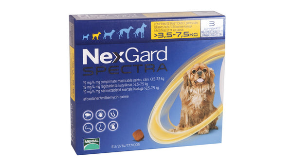 NexGard Spectra Chewable 3 Tablets for Small Dogs 3.5-7.5kg prevention of heartworm disease