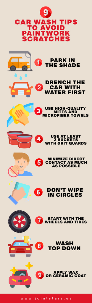 the best way to wash a car without scratching it infographic