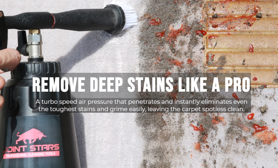 A turbo speed air pressure that penetrates and instantly eliminates even the toughest stains and grime easily, leaving the carpet spotless clean.