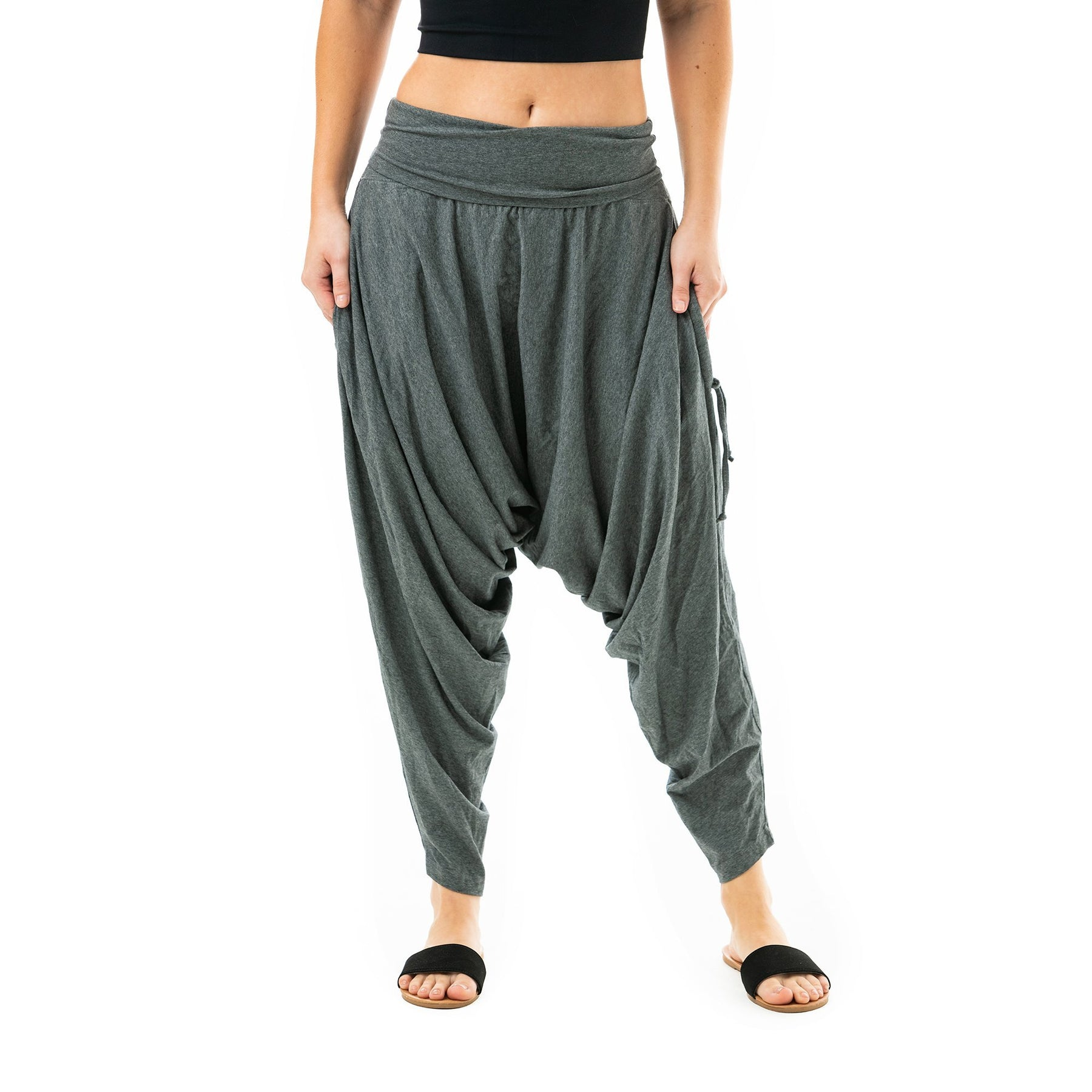 Grey and Rust striped harem pants