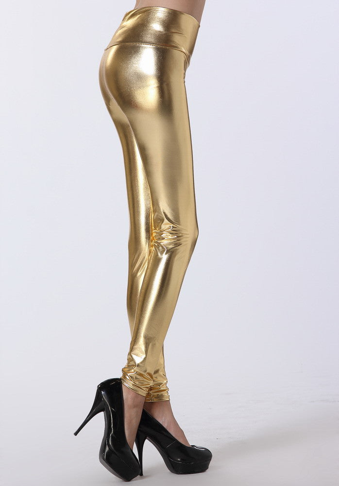 Gold High Waist Leggings - Everything 5 Pounds - 2