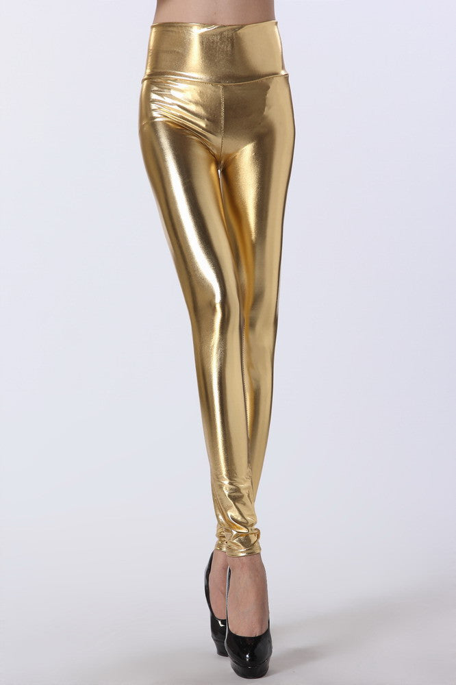 Gold High Waist Leggings - Everything 5 Pounds - 1