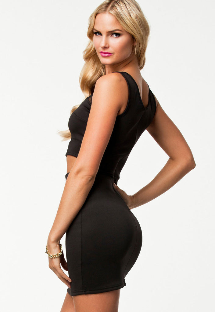 Black Sexy Contrast-colored Mesh Perspective Mini Dress - Everything 5 Pounds