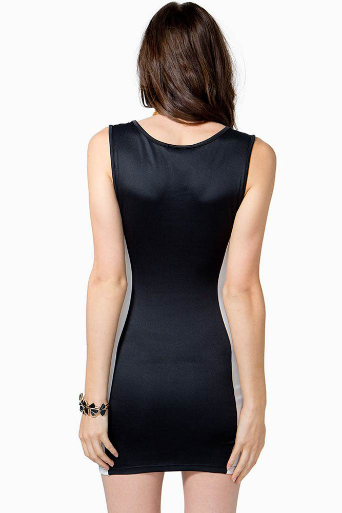Black&White Two Tone Party Bodycon Dress - Everything 5 Pounds
