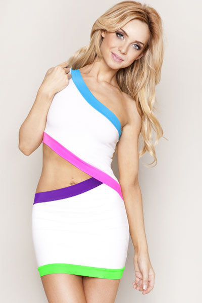 Black Cut out Sexy Club Dress with Neon Trims - Everything 5 Pounds