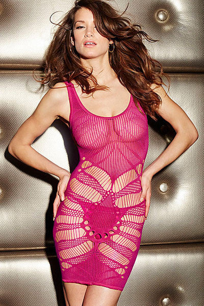 Seamless Open Patterned Rose Chemise Lingerie - Everything 5 Pounds - 1