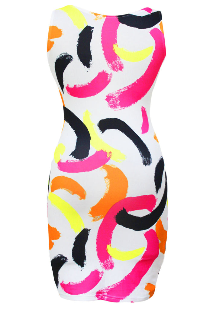 Vogue Colorful Paint Stroke Print Dress - Everything 5 Pounds - 2