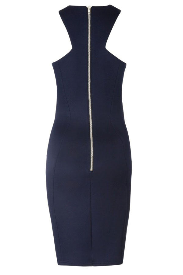 Racer Front Navy Bodycon Midi Dress - Everything 5 Pounds - 2
