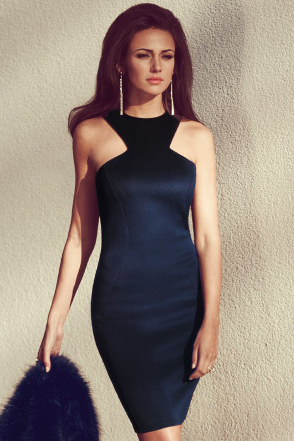 Racer Front Navy Bodycon Midi Dress - Everything 5 Pounds - 1