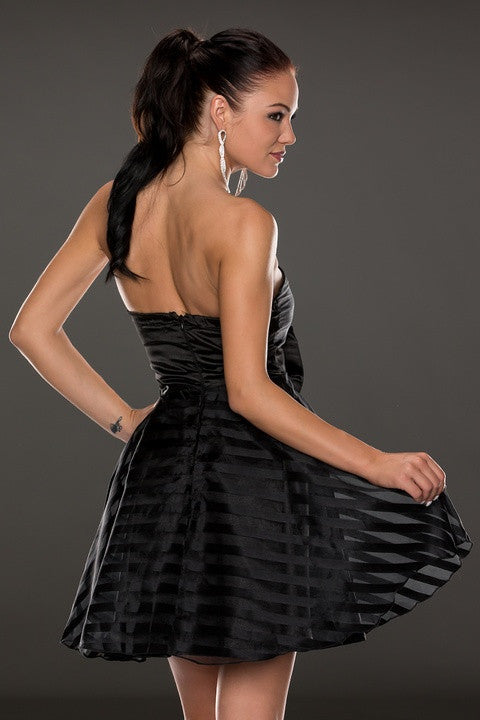 Black Ribbon&Mesh Strips Strapless Skater Dress - Everything 5 Pounds