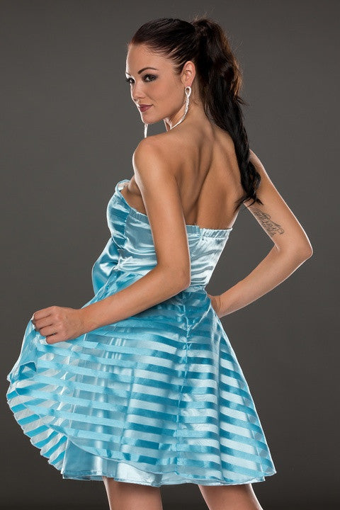 Blue Ribbon&Mesh Strips Strapless Skater Dress - Everything 5 Pounds