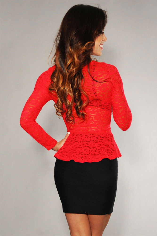 Ivory Sheer Lace Peplum Top Red - Everything 5 Pounds - 2