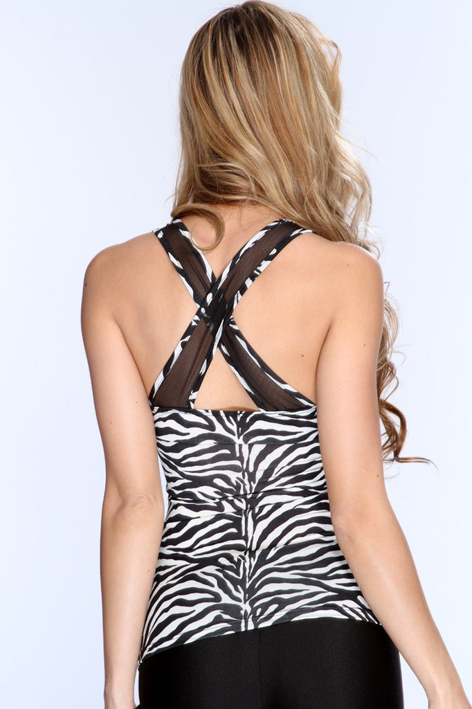 White Black Zebra Print Mesh Cut Outs Top - Everything 5 Pounds - 3