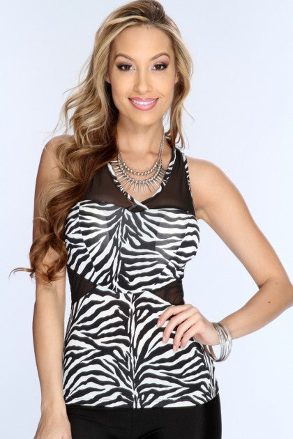 White Black Zebra Print Mesh Cut Outs Top - Everything 5 Pounds - 1