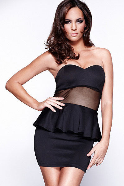 Mandy Black Strapless Peplum Dress - Everything 5 Pounds