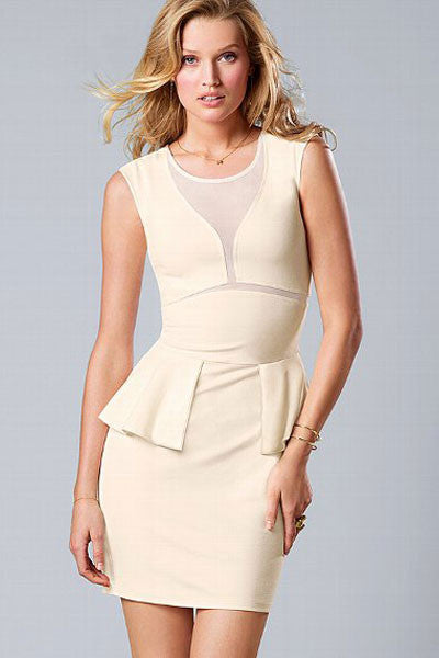 Professional Ponte Peplum OL Dress White - Everything 5 Pounds