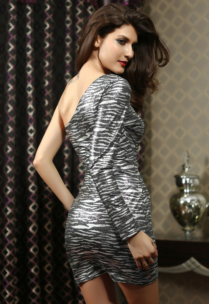 Charcoal Gray Animal Print One Shoulder Dress - Everything 5 Pounds