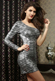 Charcoal Gray Animal Print One Shoulder Dress - Everything 5 Pounds - 3