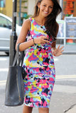 Ladies Celeb Inspired Tie Dye Splash Print Bodycon Midi Dress - Everything 5 Pounds - 1