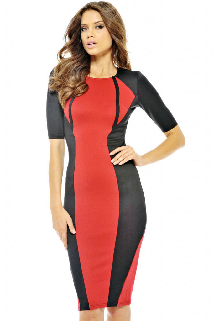 Red Panel Body-shaping Colorblock Midi Dress - Everything 5 Pounds - 2