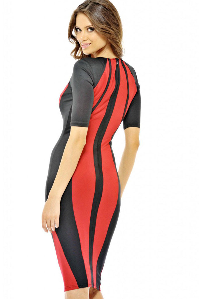 Red Panel Body-shaping Colorblock Midi Dress - Everything 5 Pounds - 1