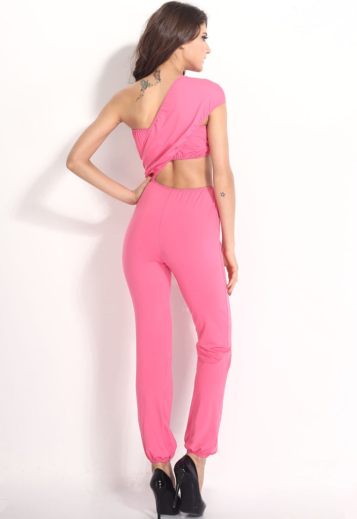 Bright Pink One-shoulder Jumpsuit - Everything 5 Pounds