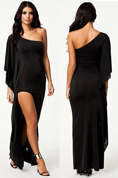 One-Shoulder Draped Black Evening Dress - Everything 5 Pounds