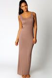 Sandy Scoop Neck Sleeveless Mocha Maxi Dress - Everything 5 Pounds - 1