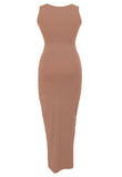 Sandy Scoop Neck Sleeveless Mocha Maxi Dress - Everything 5 Pounds - 2